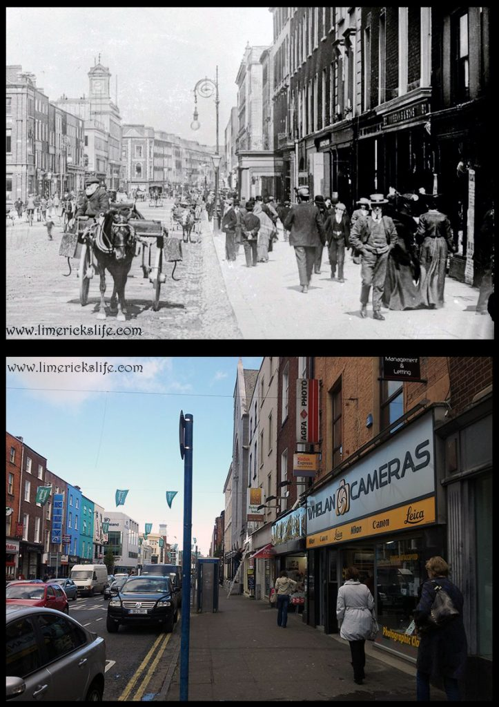 George Street now O'Connell Street At the turn of the last century the porch in front of the County Club encroached onto George's Street. While straw hats were a popular fashion accessory of the day.