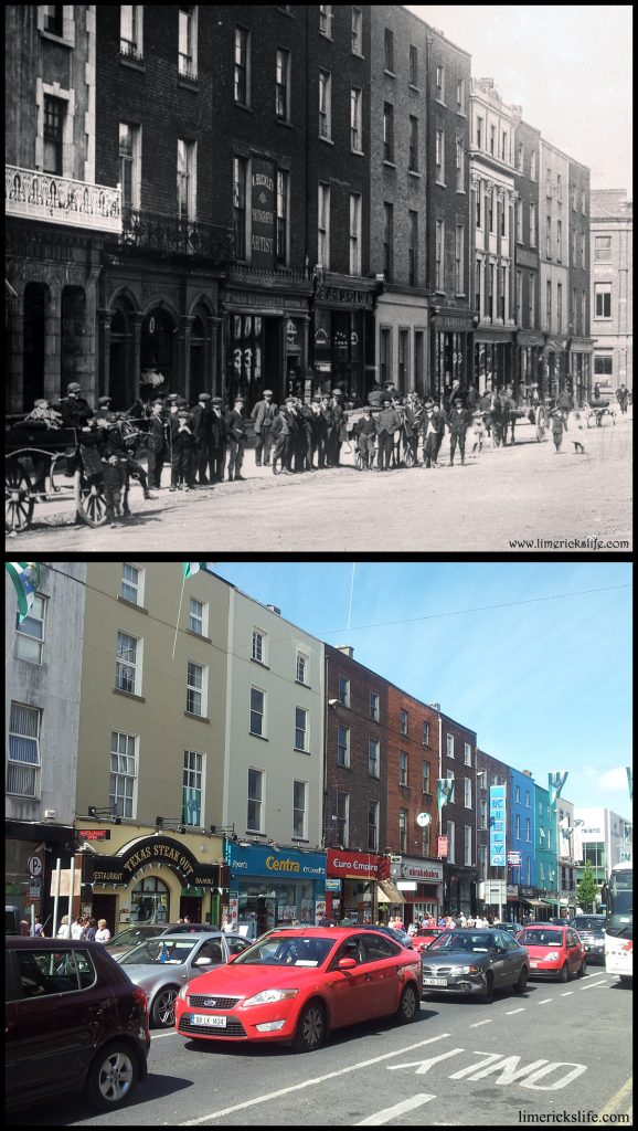 George Street now O'Connell Street (opposite to the image above) The shop frontages were far more ornate c.1900 and the group of boys seem to have been replaced with cars today.