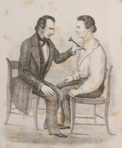 """L. M. Lawson, M.D., """"Lectures on the Pathology, Diagnosis and Treatment of Diseases of the Chest; … Mode of Auscultation -- Stethoscopes,"""" The Western Lancet Vol XI, No.3 (March, 1850): fig 24 (opp p 137)."""