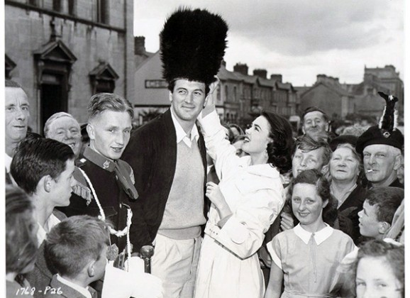 Rock Hudson and Barbara Rush visit in 1954