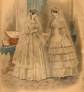 Wedding Costume - Godey's Lady's Book. Mar 1850.