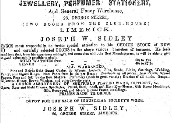 Sidley Adverts (Nenagh Guardian 31 August 1866)
