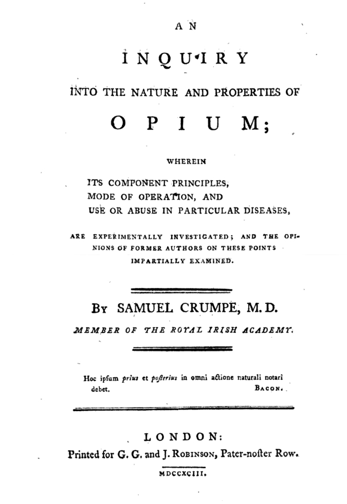 An inquiry into the nature and properties of opium samuel crumpe 1793
