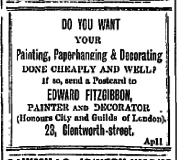 25 march 1910 advert for wallpaper, paint and decorating