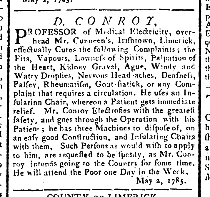 May 5 1785 Limerick Chronicle notice