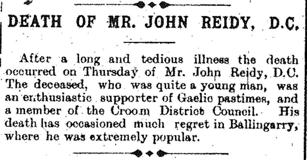 June 25, 1910 obit of John reidy